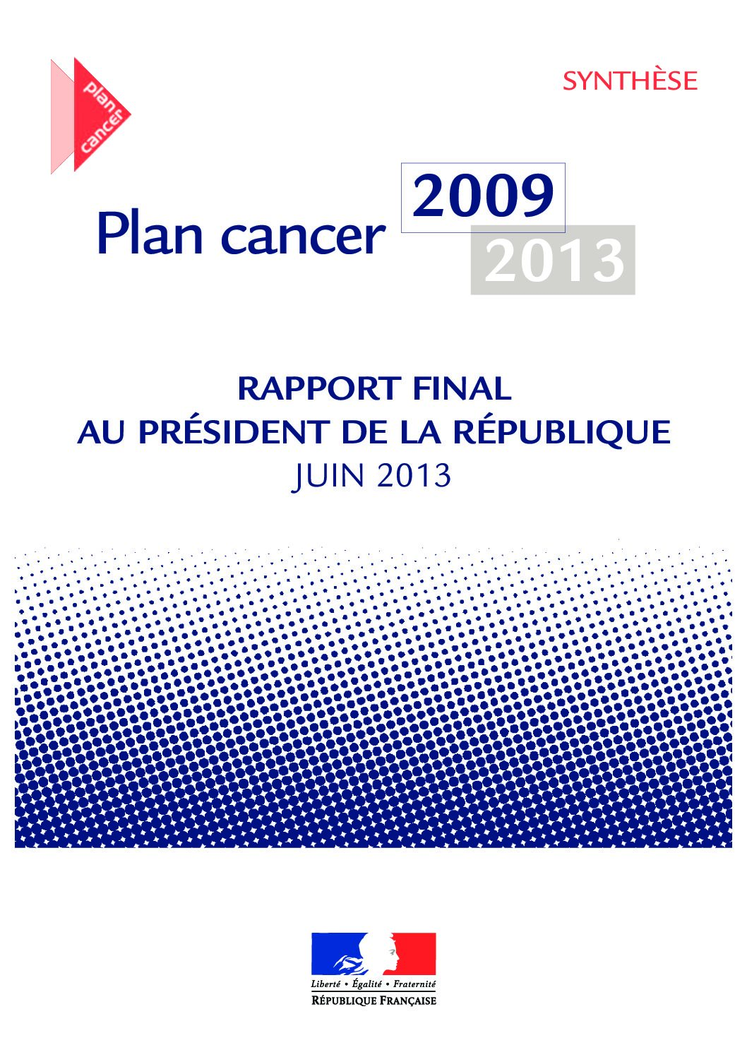 DGS: Rapport final sur le bilan du Plan cancer 2009-2013