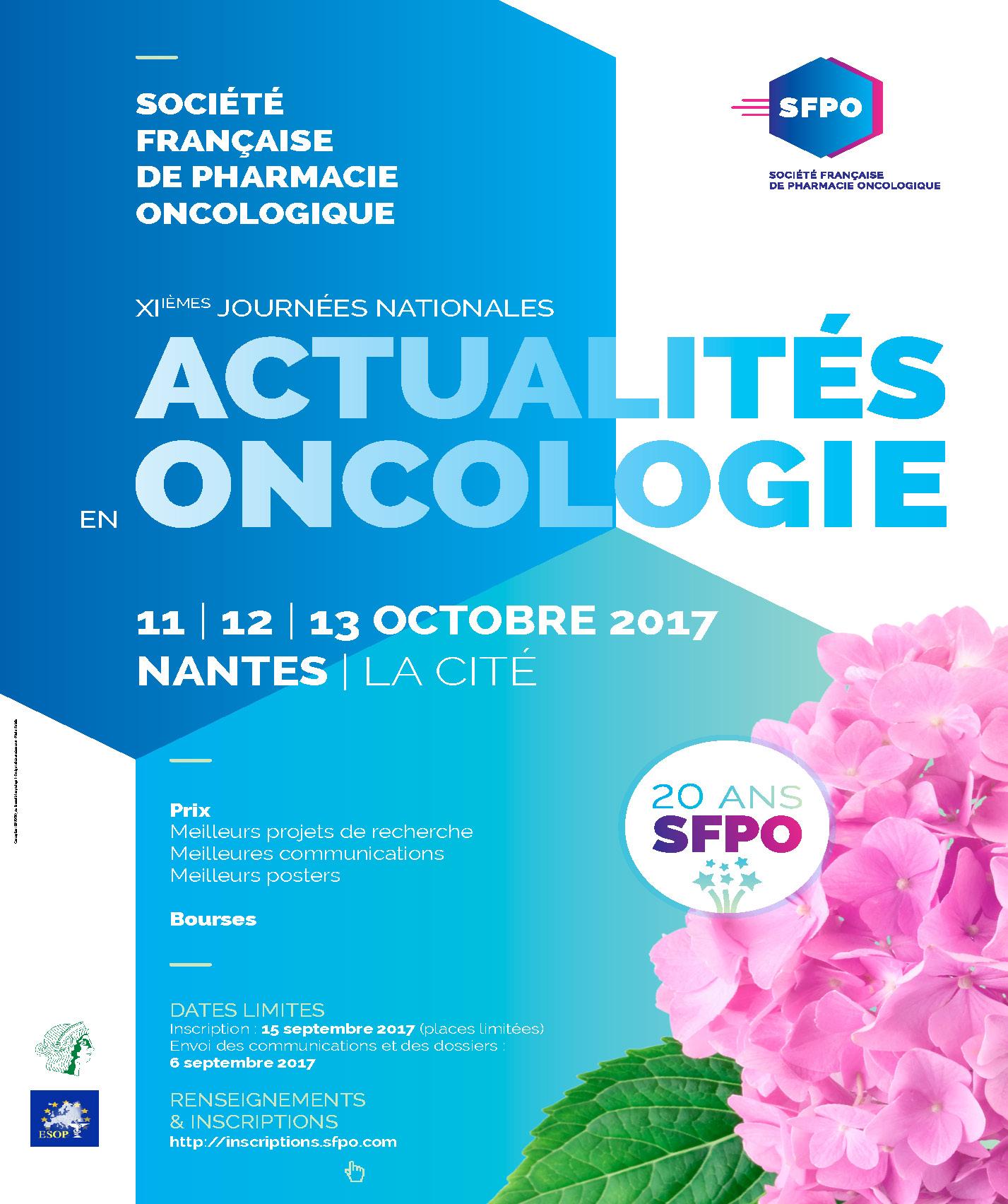 XIèmes Journées Nationales Actualités en Oncologie 2017